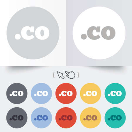 co: Domain CO sign icon. Top-level internet domain symbol. Round 12 circle buttons. Shadow. Hand cursor pointer. Stock Photo