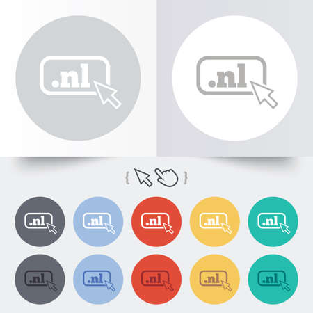 nl: Domain NL sign icon. Top-level internet domain symbol with cursor pointer. Round 12 circle buttons. Shadow. Hand cursor pointer. Stock Photo