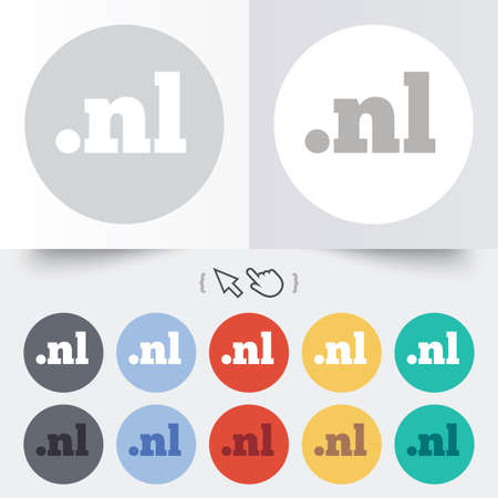 nl: Domain NL sign icon. Top-level internet domain symbol. Round 12 circle buttons. Shadow. Hand cursor pointer. Stock Photo