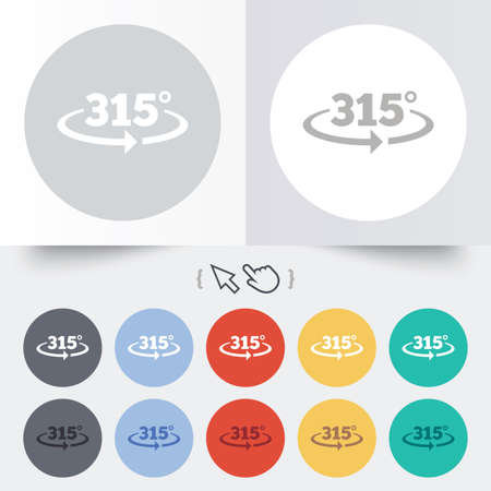 math icon: Angle 315 degrees sign icon. Geometry math symbol. Round 12 circle buttons. Shadow. Hand cursor pointer. Stock Photo