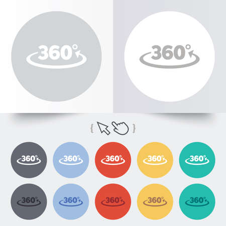 Angle 360 degrees sign icon. Geometry math symbol. Full rotation. Round 12 circle buttons. Shadow. Hand cursor pointer. photo