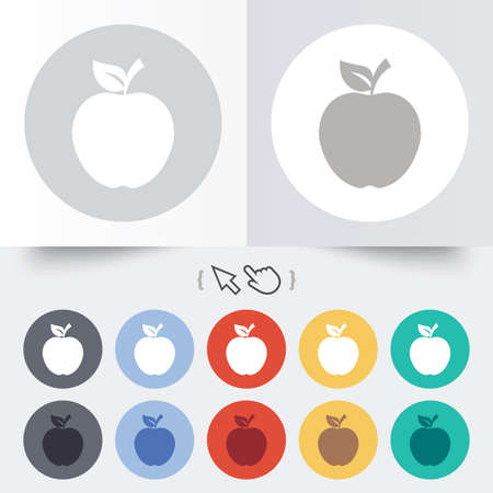 Apple sign icon. Fruit with leaf symbol. Round 12 circle buttons. Shadow. Hand cursor pointer. photo