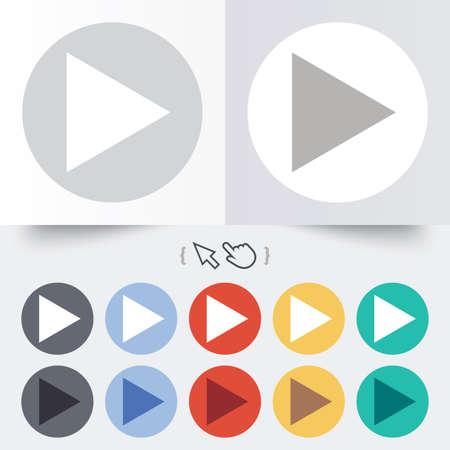 Arrow sign icon. Next button. Navigation symbol. Round 12 circle buttons. Shadow. Hand cursor pointer. photo