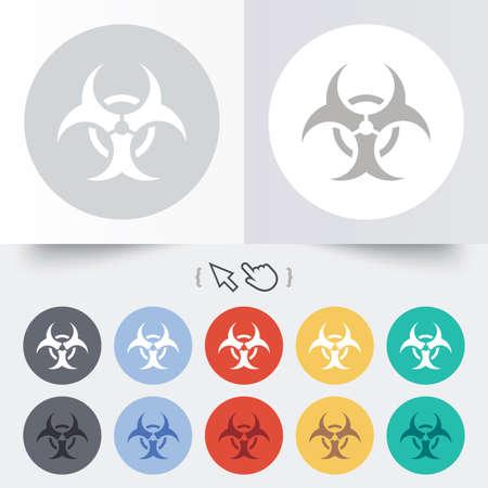 Biohazard sign icon. Danger symbol. Round 12 circle buttons. Shadow. Hand cursor pointer. photo