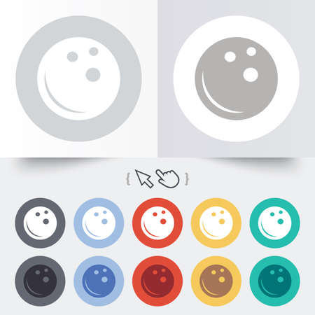 Bowling ball sign icon. Bowl symbol. Round 12 circle buttons. Shadow. Hand cursor pointer. photo