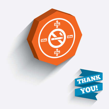 long distance: No smoking 10m distance sign icon. Stop smoking symbol. White icon on orange 3D piece of wall. Carved in stone with long flat shadow. Stock Photo