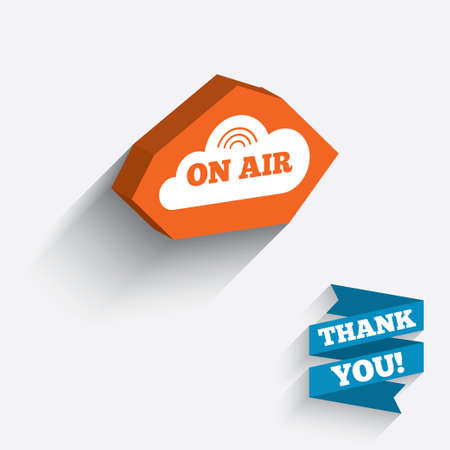 long live: On air sign icon. Live stream symbol. White icon on orange 3D piece of wall. Carved in stone with long flat shadow. Stock Photo