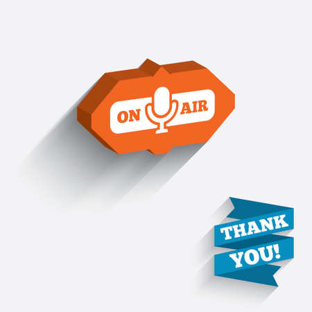 On air sign icon. Live stream symbol. Microphone symbol. White icon on orange 3D piece of wall. Carved in stone with long flat shadow. photo