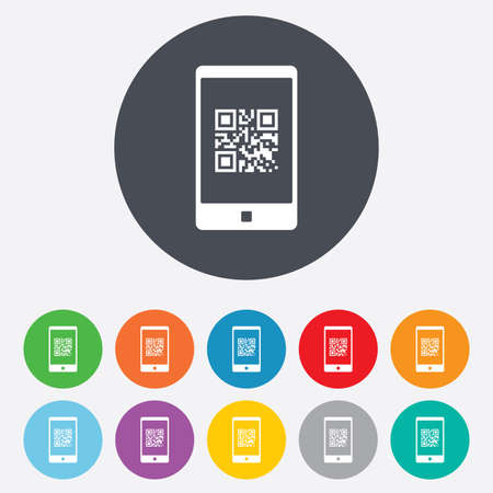 coded: Qr code sign icon. Scan code in smartphone symbol. Coded word - success! Round colourful 11 buttons.