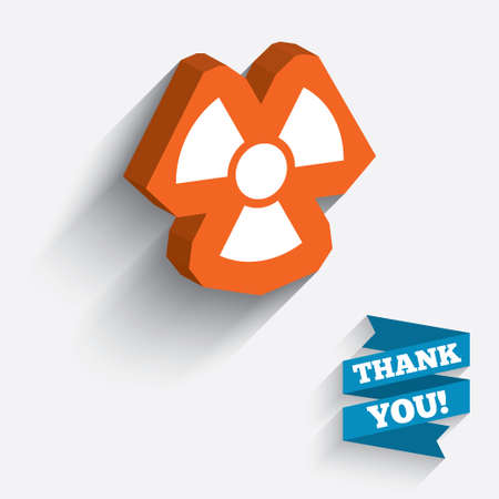 Radiation sign icon. Danger symbol. White icon on orange 3D piece of wall. Carved in stone with long flat shadow. photo