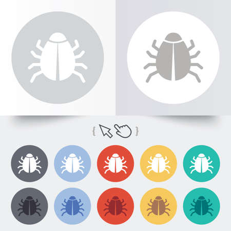 Bug sign icon. Virus symbol. Software bug error. Disinfection. Round 12 circle buttons. Shadow. Hand cursor pointer. photo