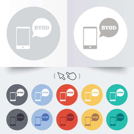 BYOD sign icon. Bring your own device symbol. Smartphone with speech bubble sign. Round 12 circle buttons. Shadow. Hand cursor pointer. photo