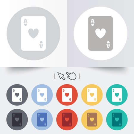 Casino sign icon. Playing card symbol. Ace of hearts. Round 12 circle buttons. Shadow. Hand cursor pointer. photo