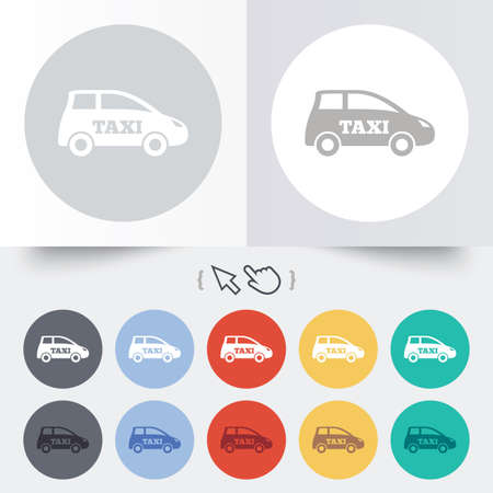 Taxi car sign icon. Hatchback symbol. Transport. Round 12 circle buttons. Shadow. Hand cursor pointer. photo