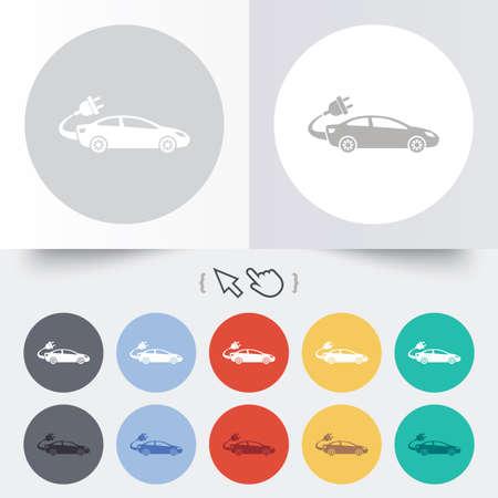 Elektrische auto teken icoon. Sedan sedan symbool. Elektrisch vervoer voertuig. Ronde 12 cirkel knoppen. Schaduw. Hand cursor pointer. Stockfoto