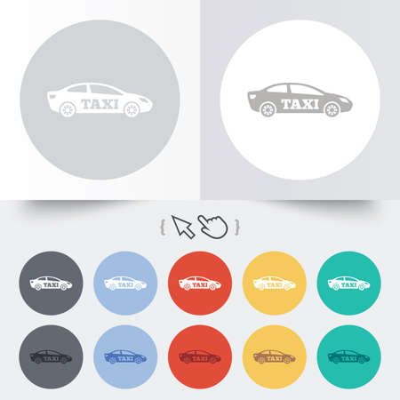 Taxi car sign icon. Sedan saloon symbol. Transport. Round 12 circle buttons. Shadow. Hand cursor pointer. photo