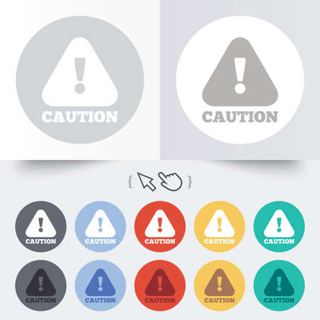 Attention caution sign icon. Exclamation mark. Hazard warning symbol. Round 12 circle buttons. Shadow. Hand cursor pointer. photo