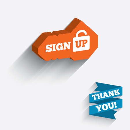 lock up: Sign up sign icon. Registration symbol. Lock icon. White icon on orange 3D piece of wall. Carved in stone with long flat shadow. Stock Photo