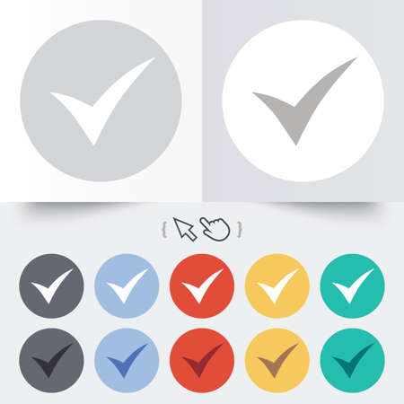 Check sign icon. Yes symbol. Confirm. Round 12 circle buttons. Shadow. Hand cursor pointer. photo