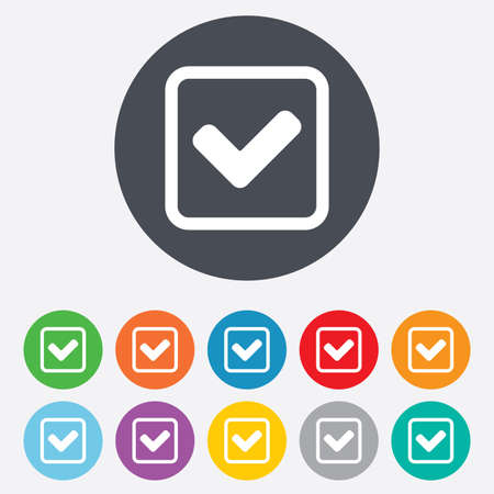 Check mark sign icon. Yes square symbol. Confirm approved. Round colourful 11 buttons. photo