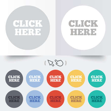 Click here sign icon. Press button. Round 12 circle buttons. Shadow. Hand cursor pointer. photo