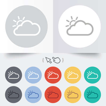 Cloud and sun sign icon. Weather symbol. Round 12 circle buttons. Shadow. Hand cursor pointer. photo