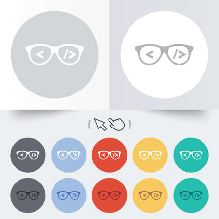 coder: Coder sign icon. Programmer symbol. Glasses icon. Round 12 circle buttons. Shadow. Hand cursor pointer.