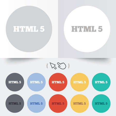 html5: HTML5 sign icon. New Markup language symbol. Round 12 circle buttons. Shadow. Hand cursor pointer. Stock Photo