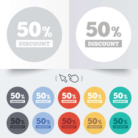50 percent discount sign icon. Sale symbol. Special offer label. Round 12 circle buttons. Shadow. Hand cursor pointer. photo
