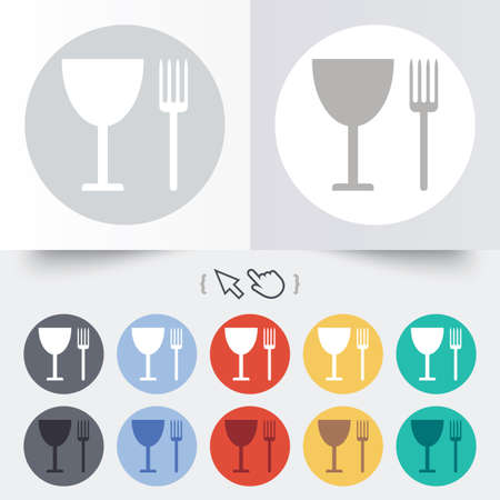 Eat sign icon. Cutlery symbol. Fork and wineglass. Round 12 circle buttons. Shadow. Hand cursor pointer. photo