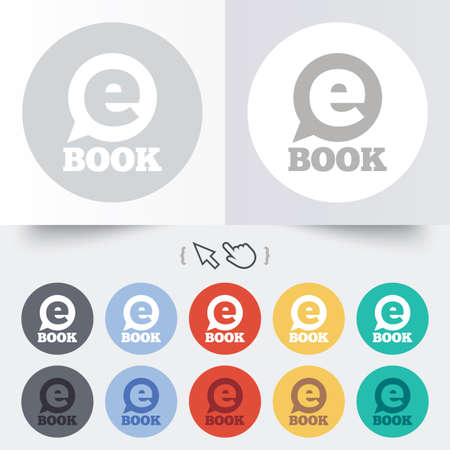 E-Book sign icon. Electronic book symbol. Ebook reader device. Round 12 circle buttons. Shadow. Hand cursor pointer. photo