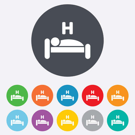 Hotel apartment sign icon. Travel rest place. Sleeper symbol. Round colourful 11 buttons. photo