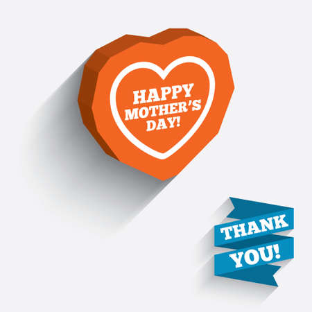 Happy Motherss Day sign icon. Mom symbol. White icon on orange 3D piece of wall. Carved in stone with long flat shadow. photo
