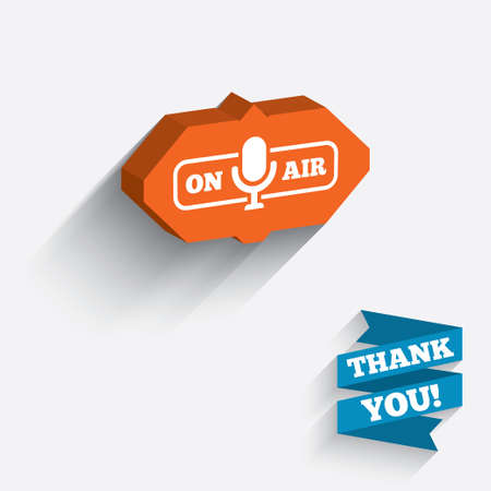long live: On air sign icon. Live stream symbol. Microphone symbol. White icon on orange 3D piece of wall. Carved in stone with long flat shadow. Stock Photo