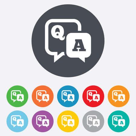 qa: Question answer sign icon. Q&A symbol. Round colourful 11 buttons.