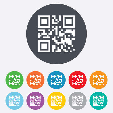 coded: Qr code sign icon. Scan code symbol. Coded word - success! Round colourful 11 buttons.