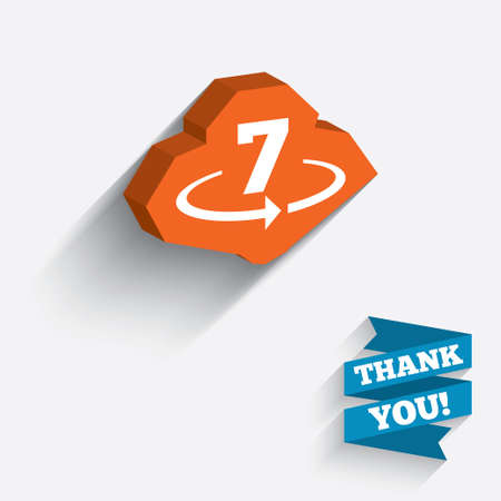 Return of goods within 7 days sign icon. Warranty exchange symbol. White icon on orange 3D piece of wall. Carved in stone with long flat shadow. photo