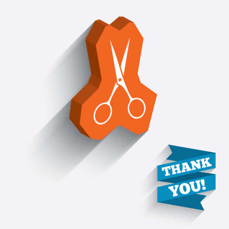disclosed: Scissors hairdresser sign icon. Tailor symbol. White icon on orange 3D piece of wall. Carved in stone with long flat shadow.