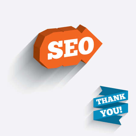 meta analysis: SEO sign icon. Search Engine Optimization symbol. White icon on orange 3D piece of wall. Carved in stone with long flat shadow.