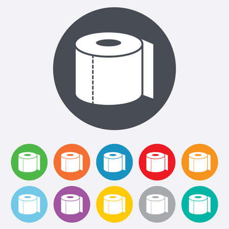toilet paper art: Toilet paper sign icon. WC roll symbol. Round colourful 11 buttons. Stock Photo