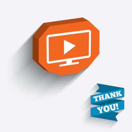 3d mode: Widescreen TV mode sign icon. Television set symbol. White icon on orange 3D piece of wall. Carved in stone with long flat shadow. Stock Photo
