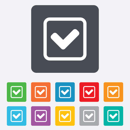 Check mark sign icon. Yes square symbol. Confirm approved. Rounded squares 11 buttons. Vector Vector