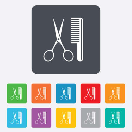 comb hair: Comb hair with scissors sign icon. Barber symbol. Rounded squares 11 buttons. Vector Illustration