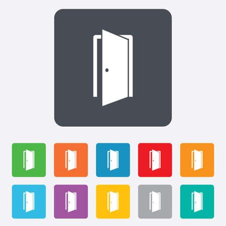 ajar: Door sign icon. Enter or exit symbol. Internal door. Rounded squares 11 buttons. Vector Illustration