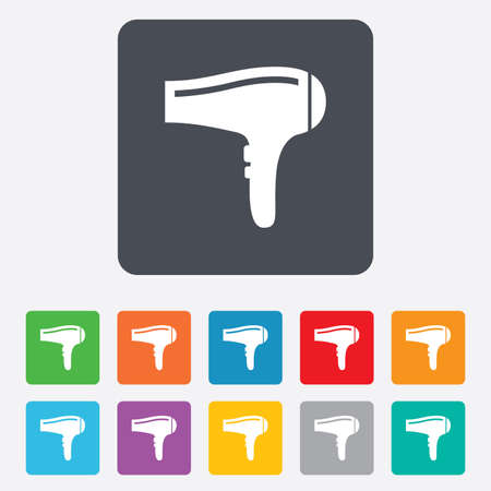Hairdryer sign icon. Hair drying symbol. Rounded squares 11 buttons. Vector