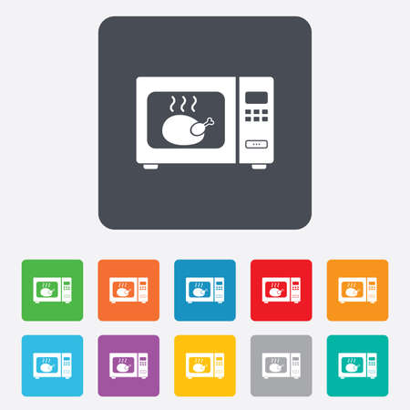 Microwave oven sign icon. Roast chicken. Kitchen electric stove symbol. Rounded squares 11 buttons. Vector Vector