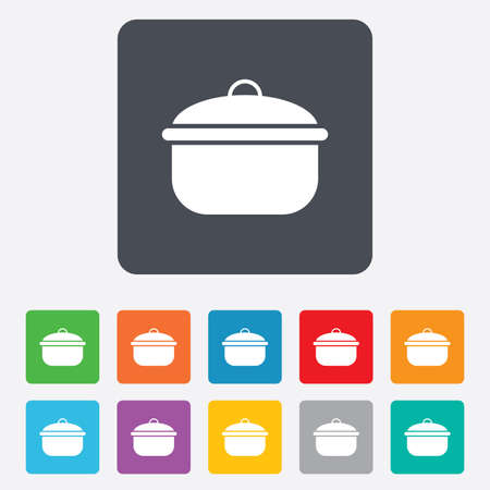 stew: Cooking pan sign icon. Boil or stew food symbol. Rounded squares 11 buttons. Vector