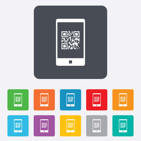 coded: Qr code sign icon. Scan code in smartphone symbol. Coded word - success! Rounded squares 11 buttons. Vector