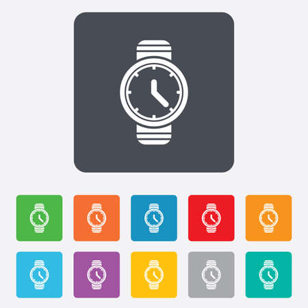 Wrist Watch sign icon. Mechanical clock symbol. Men hand watch. Rounded squares 11 buttons. Vector Vector