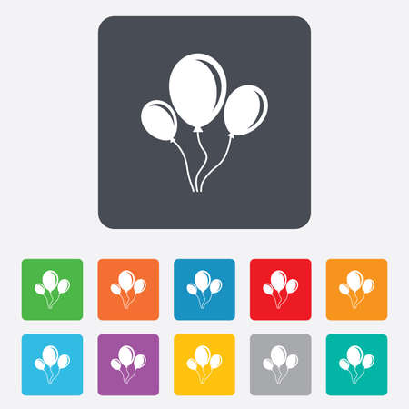 Balloon sign icon. Birthday air balloon with rope or ribbon symbol. Rounded squares 11 buttons. Vector Vector